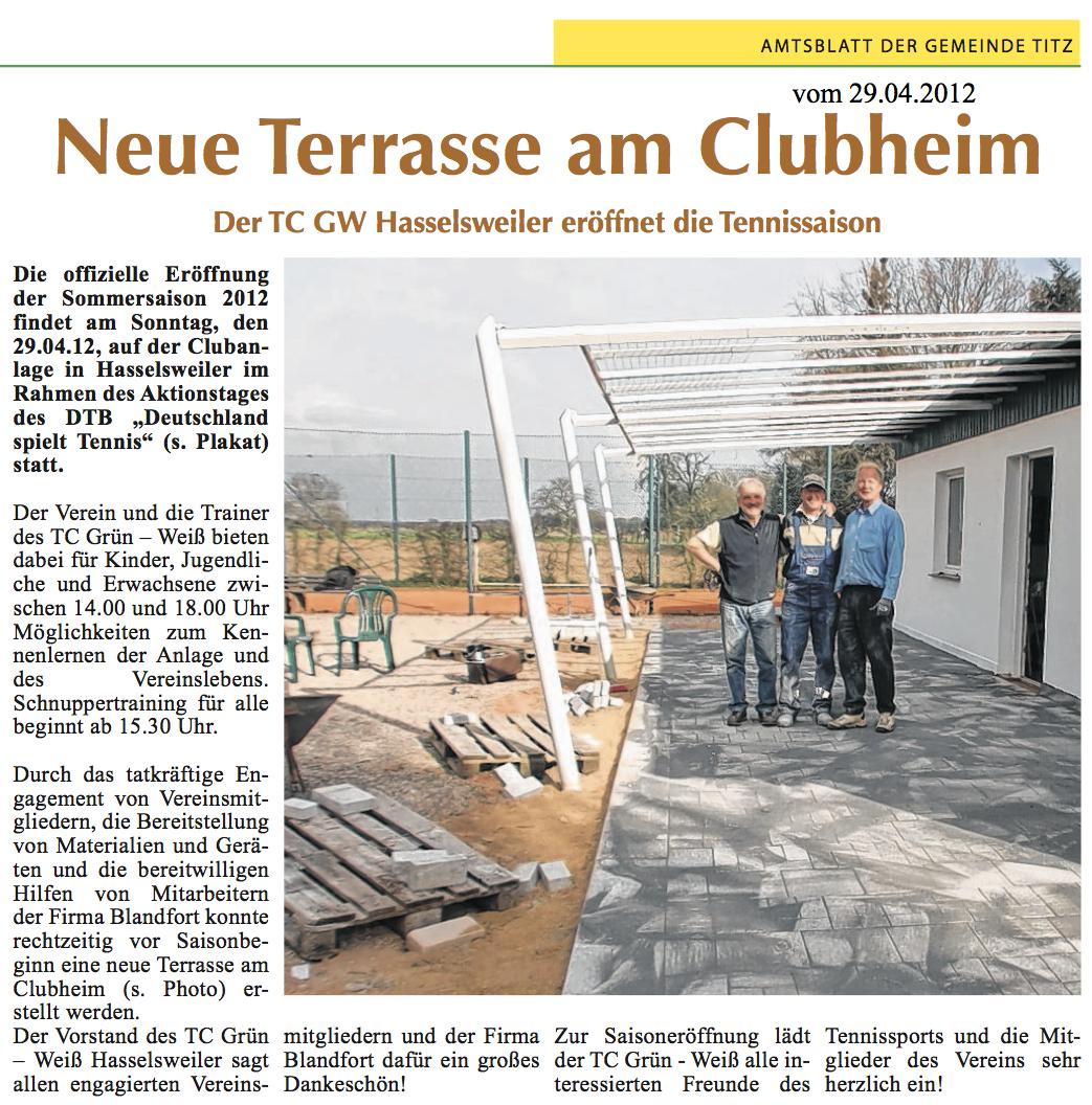 Amtsblatt: neue Terrasse